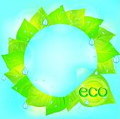 Eco abstract background with green leaves