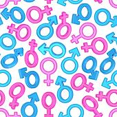 Seamless background of male and female gender symbols on white