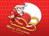 3d santa on the flying sleigh