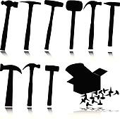 hammer vector silhouettes