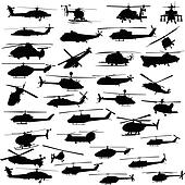 helicopter all vector silhouettes