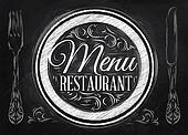 Menu restaurant lettering chalk