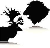 lion and deer head vector silhouett