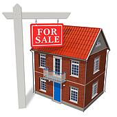 For sale sign in front of new house