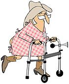 Old cowboy using a walker