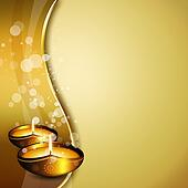 oil lamps with diwali greetings over gold background