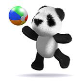 3d Baby panda bear plays beach ball