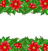 Christmas decoration with holly berry and poinsettia