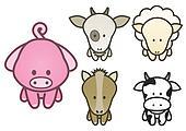 Illustration set of pet animals.