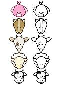 Illustration set of farm animals.