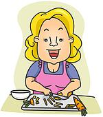 Woman Slicing Carrots