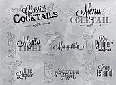 Set of cocktail menu coal