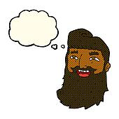 cartoon laughing bearded man with thought bubble