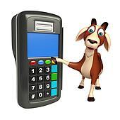 Goat cartoon character with swap machine