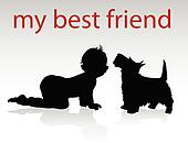 my best friend vector silhouettes