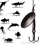 one fish hook vector illustration