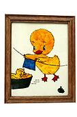 Framed painting of little chicken