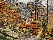 Orange Train through forest (oil painting)
