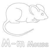 M for Mouse Coloring Page