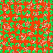 Decorative green floral on abstract