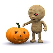 3d Halloween mummy with pumpkin