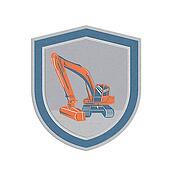 Metallic Mechanical Digger Excavator Retro Shield
