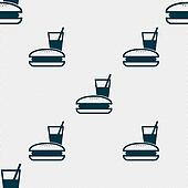 lunch box icon sign. Seamless pattern with geometric texture.