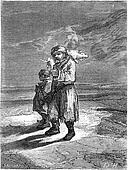 Peasant carrying a frozen piglet, vintage engraving.