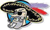 Pirate wearing eye patch clip art