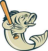 argemouth bass fish playing baseball