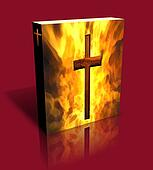 3D Burning Cross Book / Box (Red)