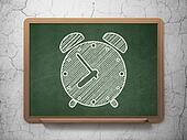 Time concept: Alarm Clock on chalkboard background
