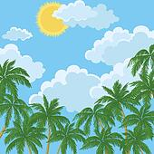 Tropical palms, sky with sun and clouds
