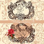Wedding invitation set with vintage decor