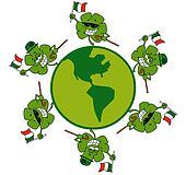 Shamrocks Running Around A Globe