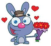 Sweet Blue Bunny Holding A Bouquet