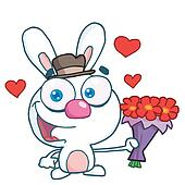 Romantic White Bunny With Flowers