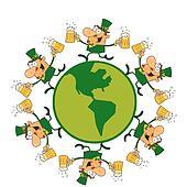 Leprechauns Running Around A Globe