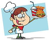 Boy Chef Holding Up Hamburger Drink