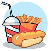 Hot Dog Drink And French Fries