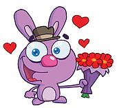 Purple Bunny Holding A Bouquet