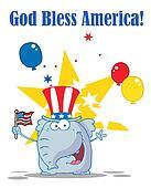 Elephant Waving An American Flag