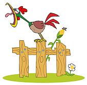 Rooster Crowing On A Wood Fence