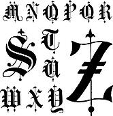 Vector Medieval Gothic Font m-z
