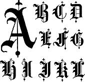 Vector Medieval Gothic Font a-l
