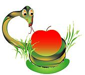 Viper with a red apple