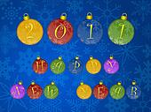 Happy New Year 2011 Colorful Ornaments Blue Background
