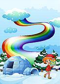 An elf near the igloo with a rainbow in the sky