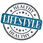 Healthy lifestyle blue grunge textured vintage isolated stamp