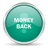 money back blue glossy circle web icon
